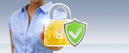 Businesswoman on blurred background touching a hand-drawn antivirus system Stock Photo