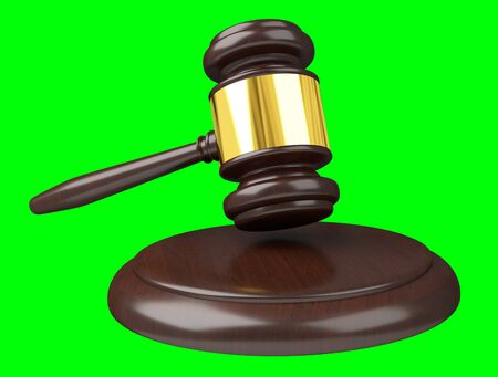 Justice hammer isolated on green background 3D rendering Stock Photo