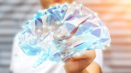 Businessman drawing digital human brain with cell and neurons activity 3D rendering Stock Photo