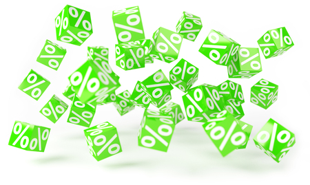 Green sales icons floating in the air on white background 3D rendering Stock Photo