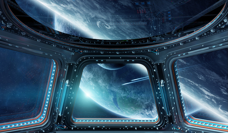 Window view of space and planets from a space station 3D rendering Imagens