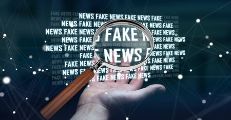 untruth: Businesswoman on blurred background discovering fake news information 3D rendering