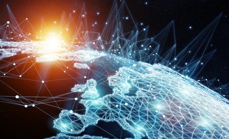 banco mundial: Red global y los intercambios de datos sobre el planeta Tierra 3D rendering