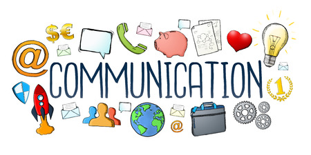 Hand-drawn communication text with icons on white background