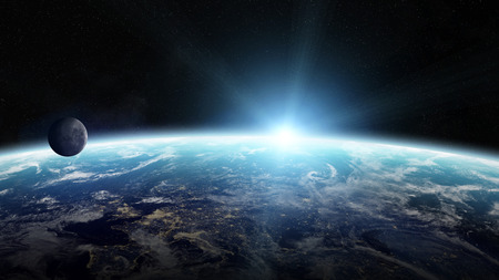 galactic: View of the planet Earth from space during a sunrise 3D rendering Stock Photo