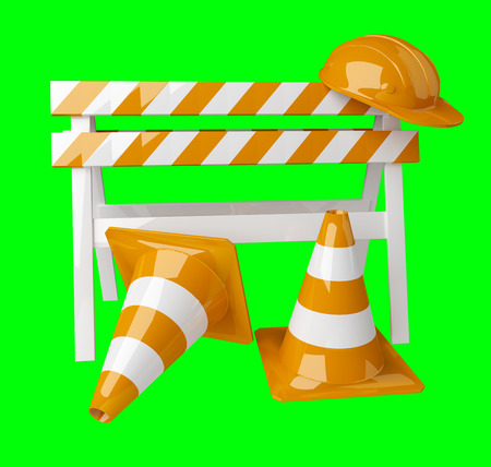 Digital 3D rendering under construction signs on green background Stock Photo