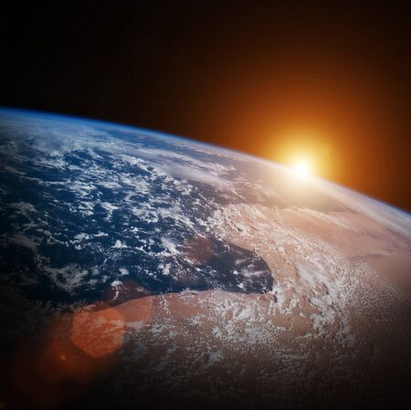 expansion: Sunrise on Earth from space 3D rendering