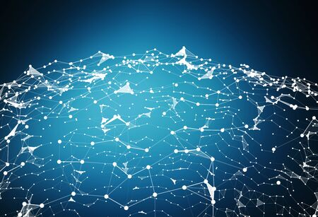 Connections and datas exchanges over the planet Earth on blue background 3D rendering