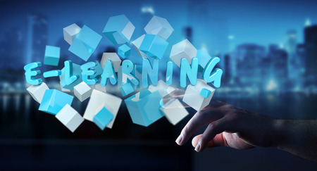 Woman holding on blurred background touching floating 3D render e-learning presentation with cube
