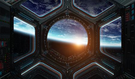 Vista de la ventana del planeta tierra desde una estación espacial en la representación del espacio 3D Foto de archivo - 82023049
