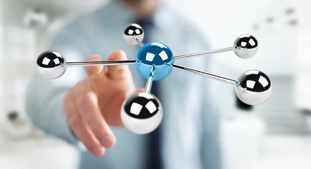 rendering: Businessman on blurred background using flying 3D spheres network 3D rendering Stock Photo