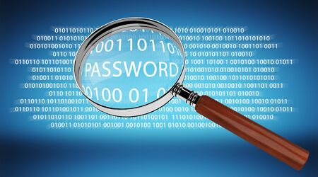 intrusion: Digital magnifying glass on blue background finding password 3D rendering