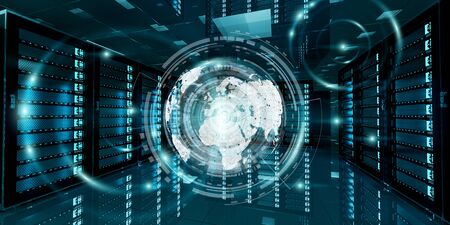 Modern digital graph holograms flying over server room data center 3D rendering