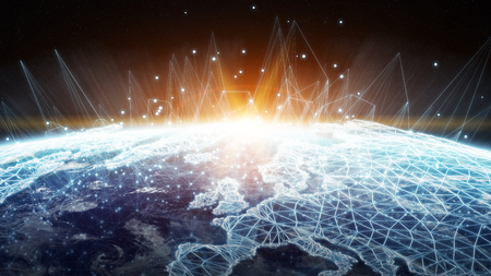 rendering: Global network and datas exchanges over the planet Earth 3D rendering