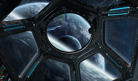 rendering: Window view of space and planets from a space station 3D rendering elements of this image furnished by NASA