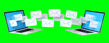 rendering: Digital e-mails flying through devices screens on green background 3D rendering