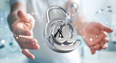 Businessman on blurred background using 3D rendered digital padlock to secure his internet datas