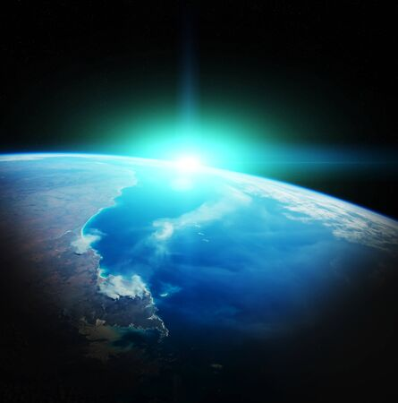 rendering: Sunrise on Earth from space 3D rendering elements of this image furnished by NASA