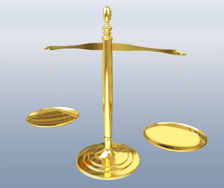 Justice weighing scales isolated on grey background 3D rendering