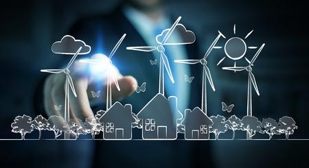 Homme d'affaires sur un fond flou fondant l'énergie renouvelable
