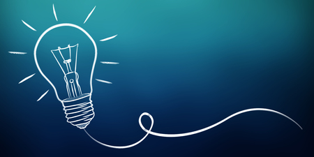 Hand-drawn lightbulb sketch on blue background
