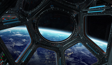 Window view of planet earth from a space station in space 3D rendering Stock Photo