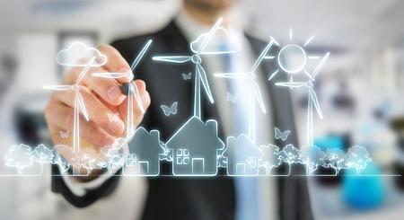 Zakenman op wazig achtergrond tekening hernieuwbare energie schets Stockfoto - 82023481