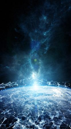 地球の 3 d 描画をグローバル ネットワークとデータ交換