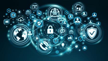 Persoonlijke gegevens informatie beschermd door software op blauwe achtergrond 3D-weergave Stockfoto
