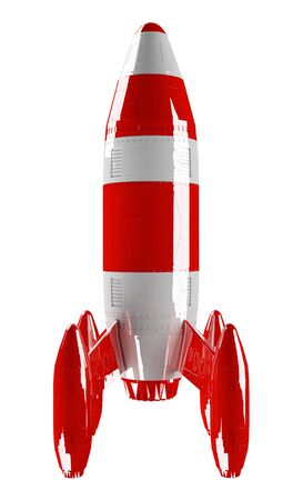 Red and white rocket launching 3D rendering on white background