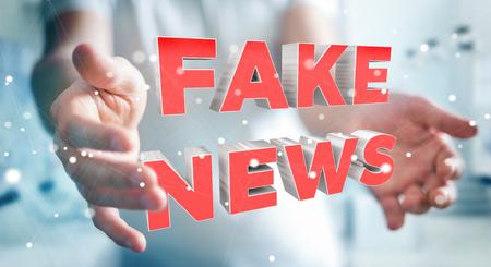 fingers: Businessman on blurred background discovering fake news information 3D rendering