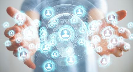 Homme d'affaires sur l'arrière-plan flou en utilisant le rendu 3D de l'interface réseau social Banque d'images