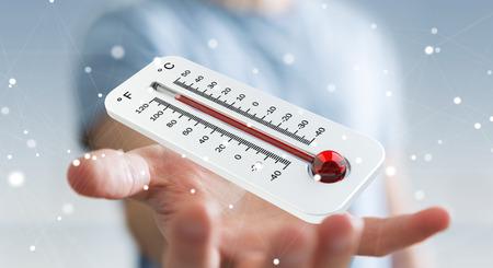 Uomo d'affari che controlla l'aumento della temperatura con un termometro rendering 3D Archivio Fotografico - 83178683