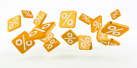 Yellow sales icons floating in the air on white background 3D rendering