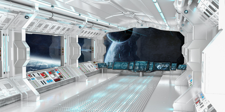 rendering: Spaceship interior with view on space and distant planets system 3D rendering Stock Photo