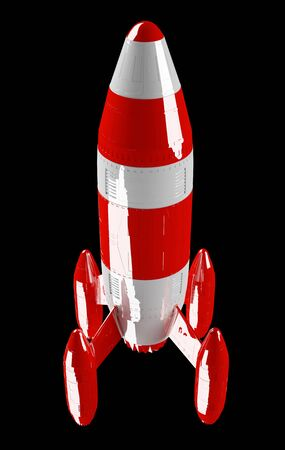 technology: Red and white rocket launching 3D rendering on black background Stock Photo