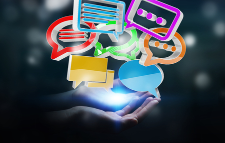 debating: Businesswoman on blurred background using digital colorful 3D rendering conversation icons Stock Photo