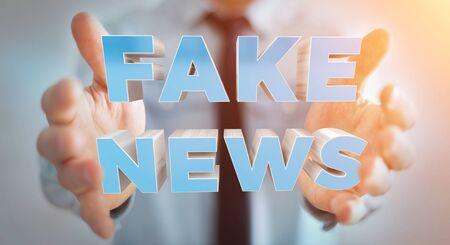 rendering: Businessman on blurred background discovering fake news information 3D rendering