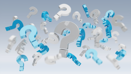 3D rendering question marks on grey background Stockfoto