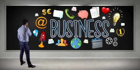 rendering: Businessman in modern interior watching business sketch on a board 3D rendering