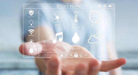 Businessman on blurred background using smart home digital interface 3D rendering 版權商用圖片