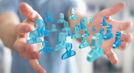 Geschäftsmann auf unscharfen Hintergrund mit 3D-Rendering Gruppe von blauen Menschen Standard-Bild - 83389936