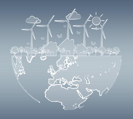 ecosistema: Bosquejo de energía renovable a mano sobre fondo gris