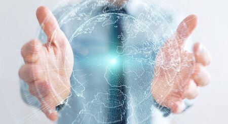 technology: Flying earth network interface activated by businessman on blurred background 3D rendering Stock Photo