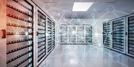 Wit en blauw abstract netwerk op server kamer datacenter 3D rendering