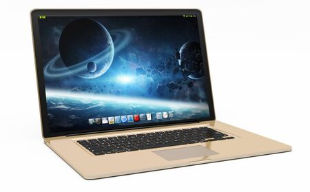現代デジタル ゴールドとブラック ホワイト バック グラウンド 3D レンダリングでのノート パソコン