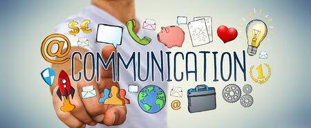 gente comunicandose: Businessman on blurred background using hand-drawn presentation Foto de archivo