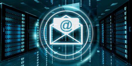 Digital white and blue emails flying over server room data center 3D rendering