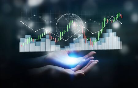 rendered: Businesswoman on blurred background using digital 3D rendered stock exchange stats and charts