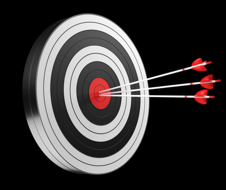 3D rendering target black white and red target with arrows on black background